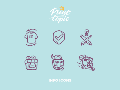 Info Icons   Print Topic delivery assurance security gift art design drawing illustration icon