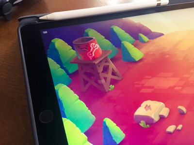 iOs Game concept | Puzzle forest mountain trees menu ipad ios interface game concept character background art
