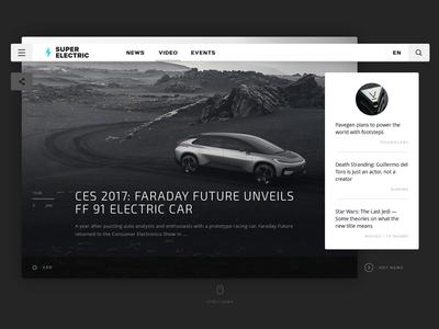Super Electric  | Concept  white interface concept button black web design clean minimal flat ux ui