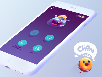 Suicide Donuts   Settings   Chom Chom Game donut lettering interface character button app blue icon ui design logo illustration
