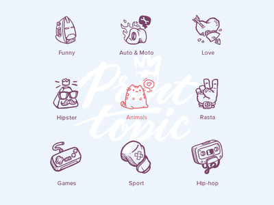 Icon Print Topic Vol.1 red hipster game design character lettering web flat vector logo illustration icon
