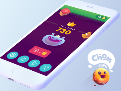 Suicide Donuts   Game Over   Chom Chom Game graphic design ui logo lettering illustration icon donut design character button blue app