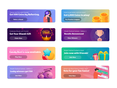 Banners in Mobile UI | Gamification ui dribbble shot typography design illustration clean design app design ui design banner ad banners