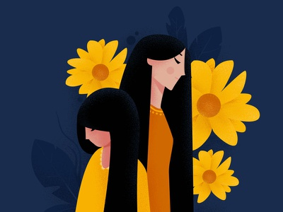 sunflower design concept color character girl flat illustration