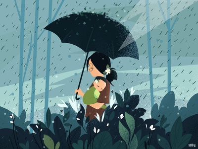 Rain n Love design happy love drawing concept color character girl flat illustration