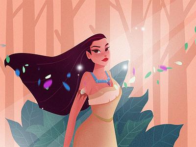 Winds of change fan art disney princess pocahontas art design color character girl flat illustration