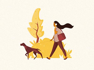 Dog And Girl character  flat  girl illustration hand-drawn drawing dog