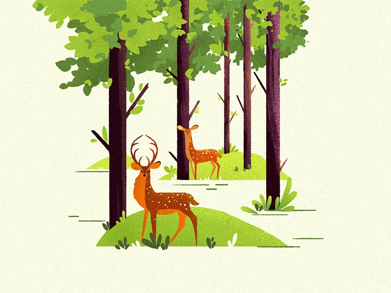 Colors are the smiles of nature trees animel experience powerful vector digital deer design color illustration character