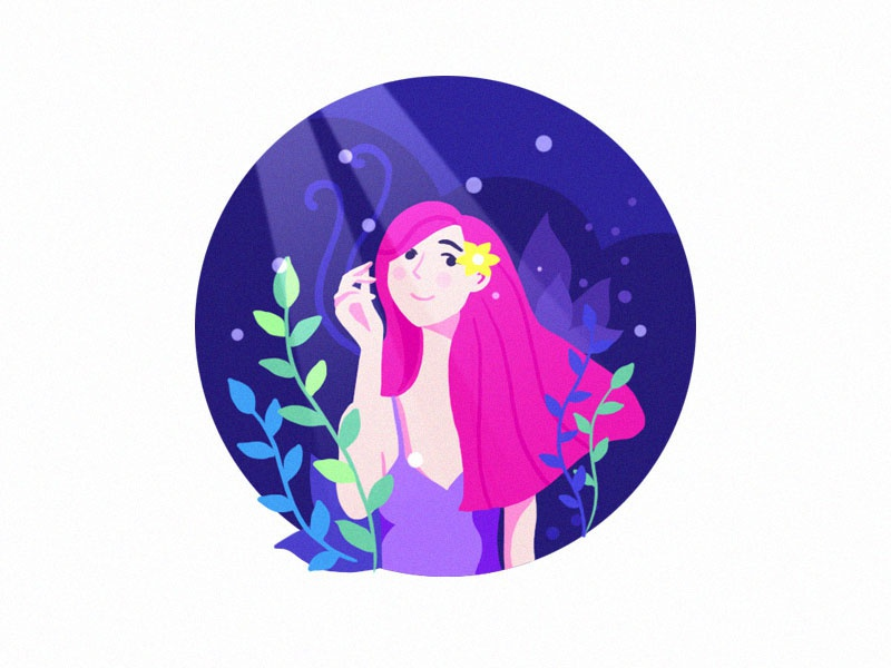 Grove of dreams design color drawing character girl flat illustration