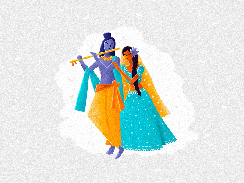 Radha Krishn art love drawing concept character girl flat illustration