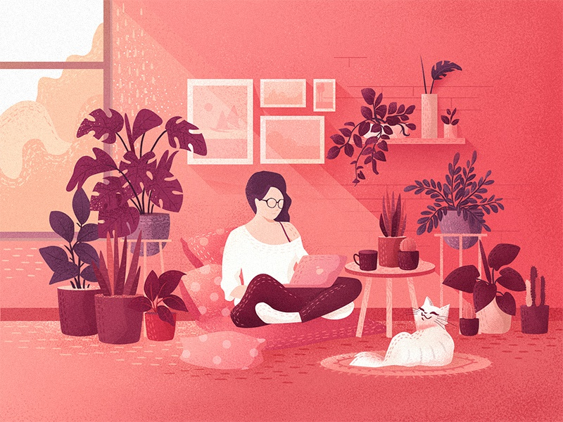 Rituals of a slumbering afternoon plants art cat love color concept character girl flat illustration