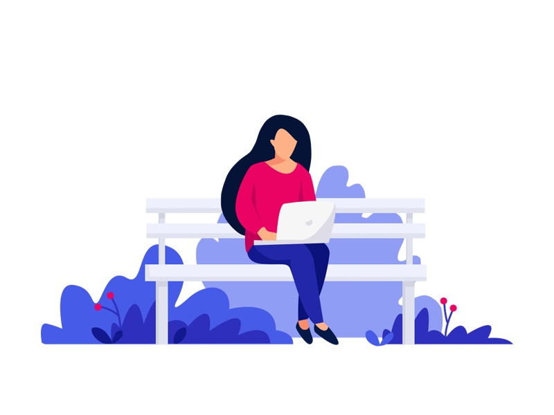 Working women busy laptop working color flat girl illustration