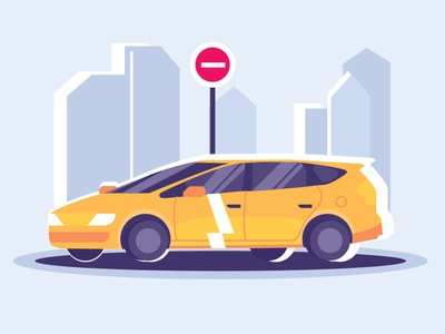Yellow Car color vector car illustration