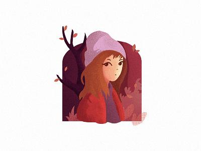 Autumn breeze color character girl flat illustration