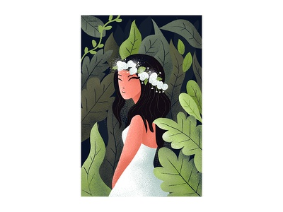 Lily of the valley drawing color flat girl illustration
