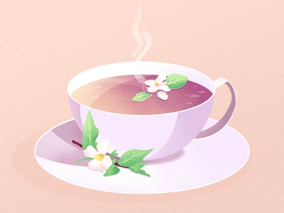 Jasmine tea flower tea flat illustration