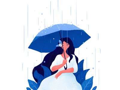 July Rain drawing concept color character girl flat illustration