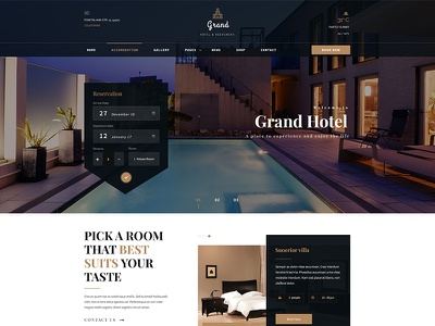 Grand - Hotel & Restaurant PSD Template vacation travel tourism resort reservations lodge hotel hostel holiday guesthouse accommodation