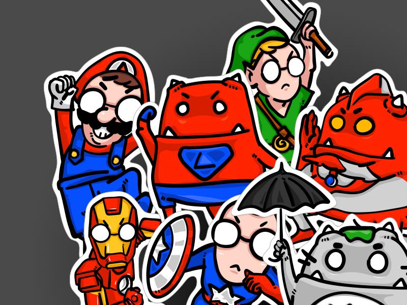 2017 Stickers anyway.fm totoro noface linkel zelda ironman ultraman superman mario hero super stickers