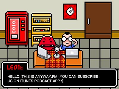 Recoding Room pixelart podcast cola room recoding anyway.fm