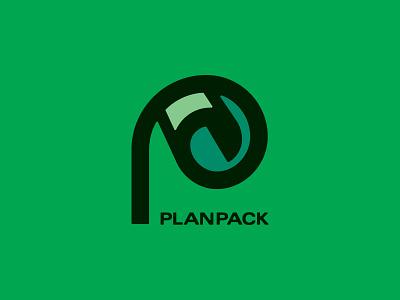 Planpack Logo branding icon paper packaging p logo