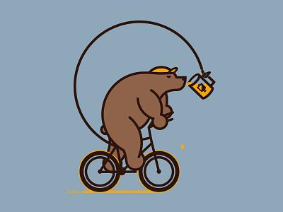 Bjorn to Ride screenprint poster bike bear beer