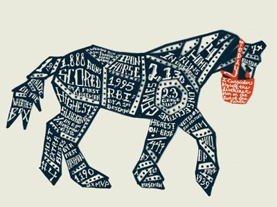 National Pastime 'Iron Horse' lou gehrig iron horse typography muzzle tear baseball hand