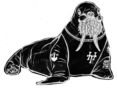 HippyTree Walrus anchor stone tattoo surf walrus hand-type ocean