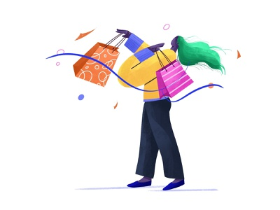 Shopping Girl hobby weekend fun happy illustration girl shopping bag shopping