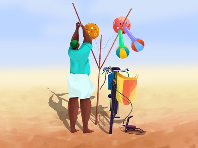 cycle-wala illustration sand characterdesign sea beach indian cycle balloon