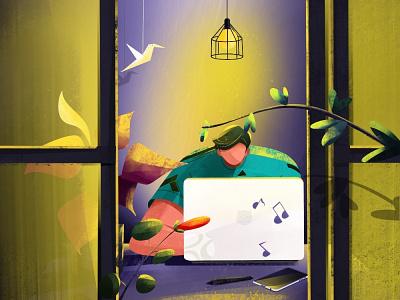 Illustrator character illustraion working bird music flower pen mobile laptop window plant light night illustrator