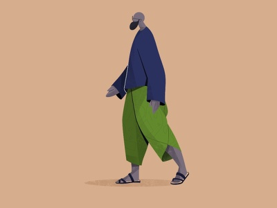 Character Deign traditional costume indian green illustraion characterdesign man walking