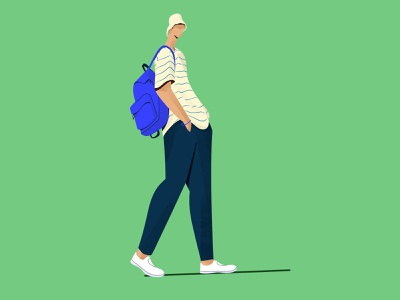 Walking procreate boy walking cap character illustration