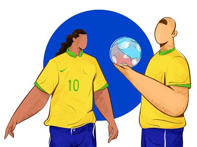 Ronaldinho character illustration ill ronaldo brazil copa america ronaldinho football