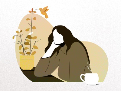 She is thinking... sitting thinking bird plant character illustration women girl