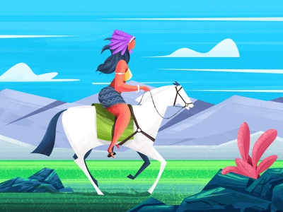Horse Rider nature landscape rider horse women illustration sketch red indian