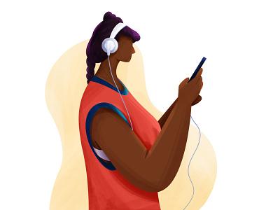 Listening to music song phone character listen happy enjoyment headphone music women lady illustration