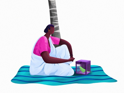Kurathi illustration art saree character village culture lady matt tree parrot women kerala