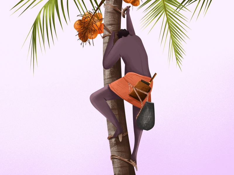 Naadan kallu kerala character design illustration tradition knife sky nature coconut tree toddy village man