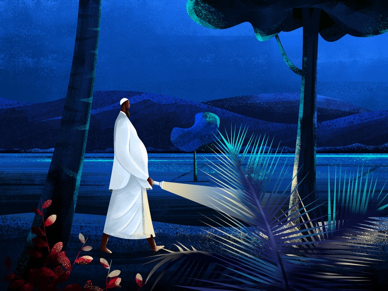 Usthad torch morning midnight sadow character walk village plant moon tree blue sky light man night kerala