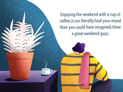 Weekend shadow natureboy illustration characterdesign character pot plant coffee cup coffee weekend