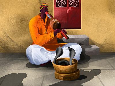 Snake Charmer street house flute dance traditioin man village snake charming india snake