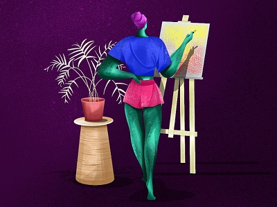 Artist shadow pot girl drawing plant character women painting artist
