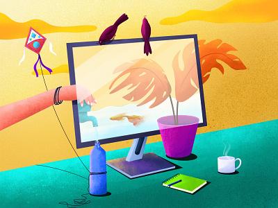 Childhood computer coffee bird kite memmory childhood water nature plant illustration