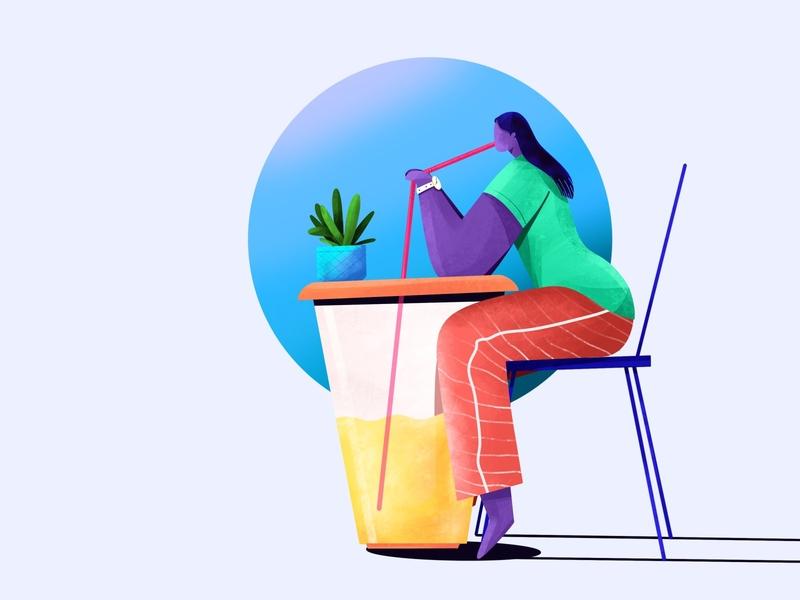 Girl drinking juice coffeeshop sitting drinking watch strow glass chair table juice girl