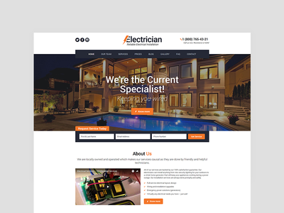 Electrician - Electricity Services WordPress Theme  website template responsive industry html template engineering electricity services electrician corporate company bootstrap