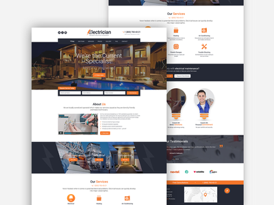 Electrician - Electricity Services WordPress Theme website responsive industry template html engineering services electricity electrician corporate company bootstrap