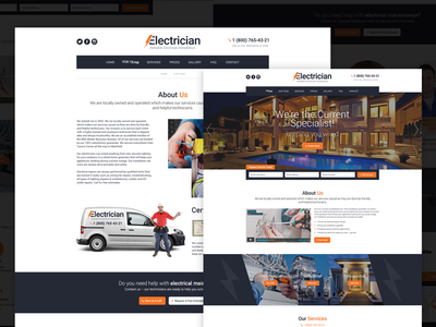 Electrician - Electricity Services WordPress Theme bootstrap company corporate electrician electricity services engineering html template industry responsive website