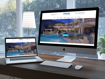 Pool Services WordPress Theme  responsive price plans pool service pool renovation pool inspection leak detection html template contact form clean blue