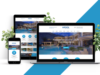 Pool Services WordPress Theme blue clean contact form html template leak detection pool inspection pool renovation pool service price plans responsive